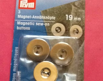 1 BLISTER PRYM 416470 3 MAGNETIC BAG CLOSURE BUTTONS TO SEW 19MM