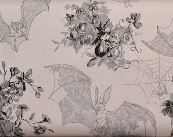 Angela's Attic by Alexander Henry Fabric, Light Mauve and Grey, Cute Bats, Spider Webs, Flowers, Halloween Fabric, Goth Girl