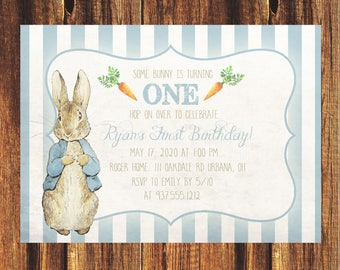 Peter Rabbit First Birthday Invitation//FREE SHIPPING// Baby Shower, Birthday, Childs, Kids, Nursery, New Baby, Peter Rabbit, Carrots