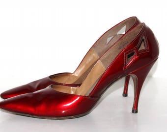 Vintage 1950s Stilettos// Red 50s Heels// Red Spike Heels// Patient Leather// Designer Chandlers Original//50s Spike Heels// Pinup Shoes//