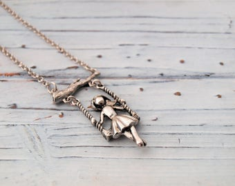 Women's Handmade Girl On A Swing Pendant Necklace | Girl Necklace | Little Girl Charm Necklace | Daughter Jewelry | Gift To Mom Jewelry Gift