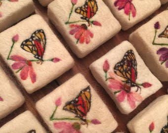 Monarchs & Flowers Felted Soap