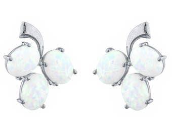 Opal Oval Shape Design Stud Earrings