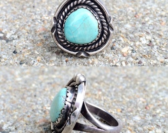 vintage old pawn Native American sterling silver blue moon turquoise southwestern ring size 4.5