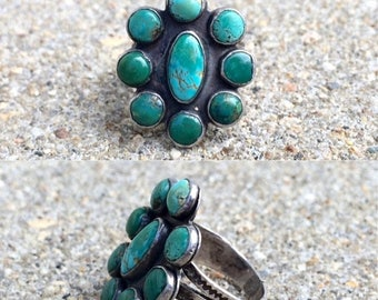 20% OFF vintage old pawn Native American sterling silver turquoise southwestern ring size 4