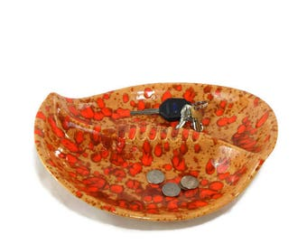 Vintage Orange Drip Glaze Ashtray * Trinket Bowl * Catch-All