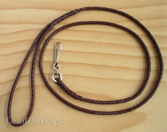 Kangaroo Leather Small Dog Lead Braided in Brandy Brown - LeadOn Poppy