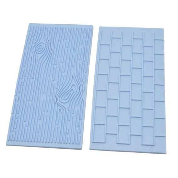 Brick and Woodgrain, 2 piece plastic printing imprint texture is for polymer clay, Mokume stamp, cookies, fondant and cake decorating