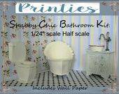 "Dollhouse ,1/24""  Sale, Half scale, Bathroom, Bathroom Kit,  Printable, Toilet, Bath tub, Vanity, Vintage, Pattern,  Card stock, Mat board,"