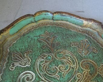 1960s Florentine Tray - Vintage Florentine Giltwood Tray - Italian Gilded Wood Tray - Giltwood Vanity Tray