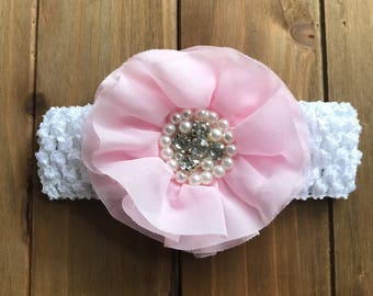 White Crochet Headband with Pink Bling Flower