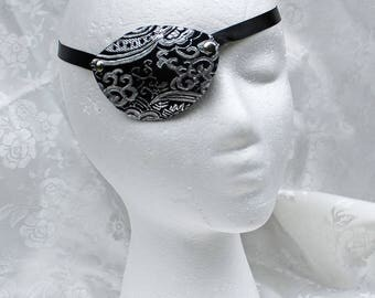 Black Brocade Eye Patch, MADE TO ORDER Black and Silver Metallic Brocade Pirate Eye Patch, Pirate Costume Accessory