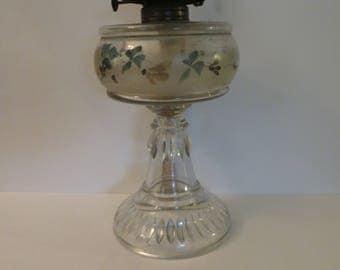 Vintage Banner Hand painted hurricane oil lamp