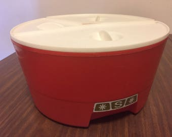 """Vintage Red Plastic Round """"Puzzle"""" Canister Set Coffee Sugar Tea Retro Canisters Mid Century Kitchen Funky Storage Containers Lids Plastic"""