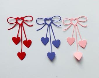 Valentine Bow Heart Die cuts Set of 8