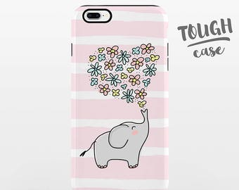 Elephant Floral iPhone Case iPhone X Case iPhone 8 Plus Case iPhone 7 Plus Case iPhone 6 Case iPhone 6S Case 5s 5c 5 4 Cute Pink TOUGH