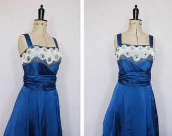 Vintage 1950s blue satin ball gown - 50s prom dress - 50s satin prom dress  - 50s beaded prom dress - 50s evening gown - 50s party dress xs