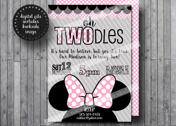 oh twodles invitations toodles minnie mouse girls birthday