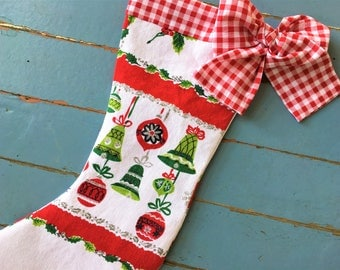 Christmas Stocking Vintage Mid-century Linen Shiny Brite Handmade