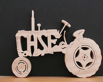 Case Tractor Very Detailed Natural Wood Finish Cut On Scroll Saw