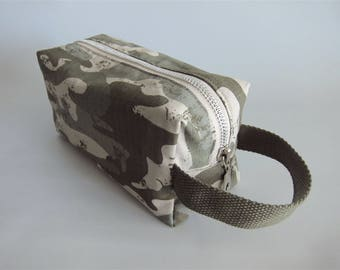 Rectangular toiletry handbag, toiletry boxy pouch, dopp kit, box pouch - Camouflage