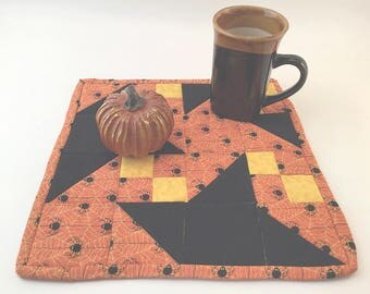 Halloween Mini-Quilt, Trivet, Pot Holder, Table Topper, Coaster, Orange, Yellow and Black, Spiders!