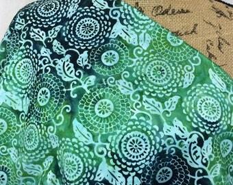 Batik Fabric--Hand Dyed Fabric--Tie Dyed Fabric--Indonesian Batik Fabric--Green Dahlias Batik Fabric--Batik Fabric by the HALF YARD