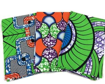 African Wax Print Fabric--FAT QUARTER BUNDLE--Green/Blue/Purple Assorted--Assorted Color/Assorted Patterns Prints--3-Pack Fat Quarter Bundle