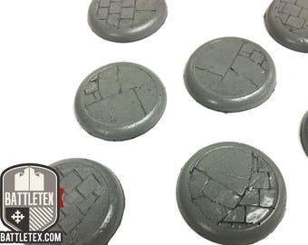 Paved Floor Detailed Wargaming Bases (Style 2) - Round Bases - 10x 28mm Warhammer war gaming - By Battletex