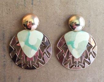 Vintage Large 1980s Copper, Beige, & Green Earrings