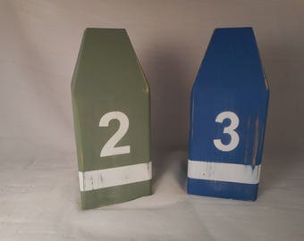 Two wooden lobster buoys /beach decor / nautical decor