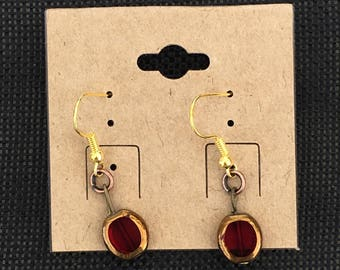 Red Drop Bead Earrings