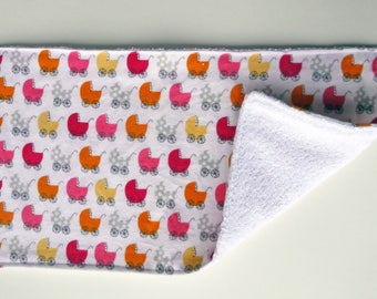 Baby Burp Cloths, Baby Carriage Burp Rags, Orange Pink and Yellow, Baby Item, Baby Accessory