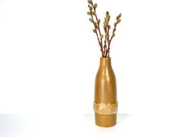 Nelson McCoy Wheat Bottle, Thick Golden Brown Ceramic Jug, Billie McCoy Design, USA McCoy Vase, Embossed NM Design, Rare McCoy USA Bottle