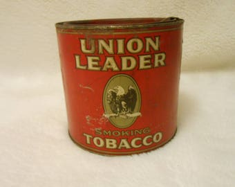 Early 1900's Union Leader Smoking Tobacco Tin