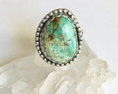 artisan turquoise ring in sterling, size 5.5