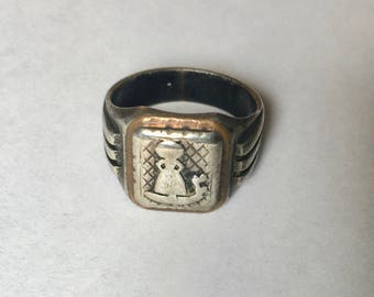 vintage/antique gondolier sterling and brass ring, size 10.5