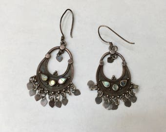 vintage sterling and abalone boho dangle earrings