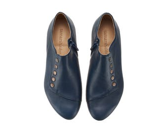 Navy flat shoes/ Grace/ leather shoes with a side zipper