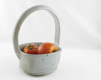 Stoneware Ceramic Basket With Large Handle - Grey With Brown - Artist Signature - Useful and Unique Ceramic Basket - Carrier - Glazed Grey