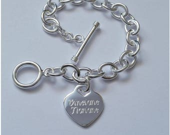Thick heart bracelet with 925 sterling silver engraving