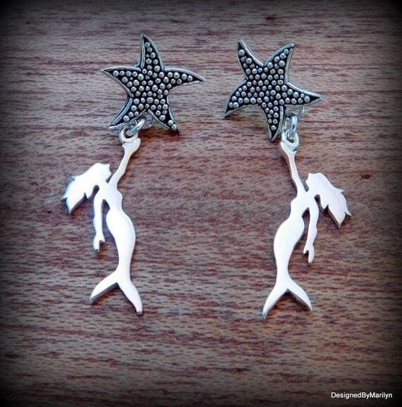 Sterling silver mermaid mermaid and starfish earrings, ocean theme, swimmers jewelry, vacation jewelry, surfers jewelry