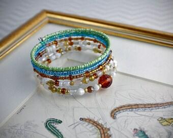 Boho multi-colored glass bead bracelet