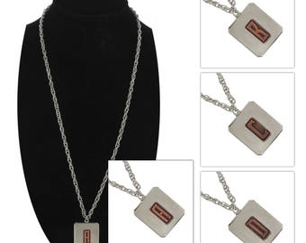 Initial Letters Pendant  Necklace Hand Made Silver Copper Two Tone USA
