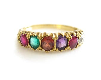 Victorian REGARD 14K Ruby Emerald Garnet Amethyst Ruby Diamond Yellow Gold Ring | Antique Jewelry | Wedding Ring | Engagement Ring