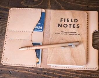 "Field Notes wallet with pen sleeve ""Park Sloper Senior"" natural vegetable tanned leather - natural veg"