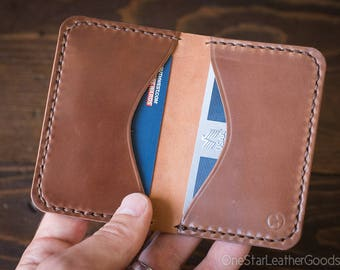 Two Pocket Card Wallet - hand stitched Horween shell cordovan leather - natural