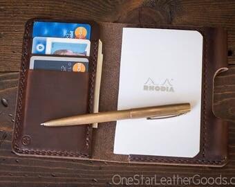 "Notebook/wallet/pen, ""Park Sloper Medium"" - brown Horween Chromexcel leather"