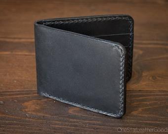 7 Pocket billfold wallet, black harness leather