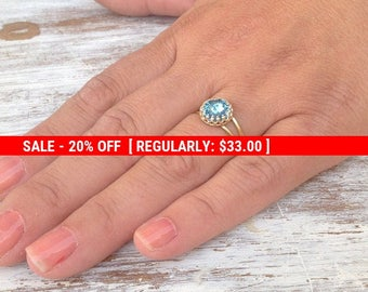 SALE 20% OFF Gold ring, aquamarine ring, cocktail ring, stacking ring, bridesmaids rings, romantic gold ring,aquamarine jewelry